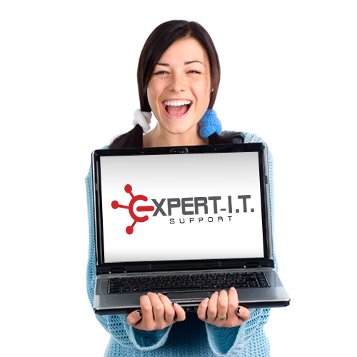 Laughing girl with laptop